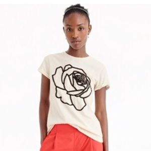 Cream Tee With Embroidered Black Rose
